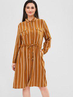 Vestido De Bolsillo A Rayas Con Botones En La Parte Delantera - Oro Anaranjado