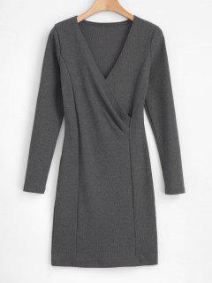 Long Sleeve Crossover Bodycon Mini Dress - Gray