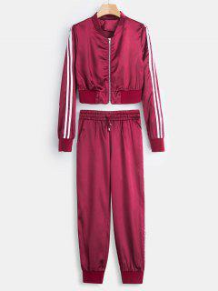 Cropped Satin Jacket And Pants Tracksuit - Rose Red M