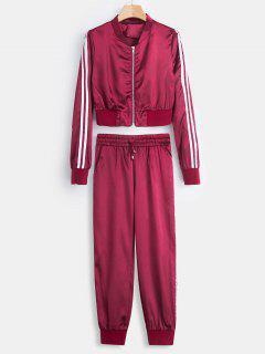 Chaqueta De Satén Recortada Y Pantalones De Chándal - Rosa Roja M