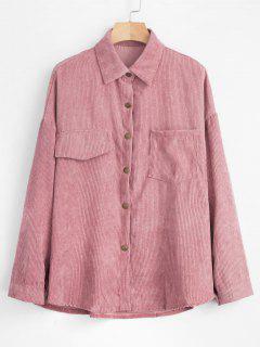 Fronttasche Cordjacke Shirt Jacke - Rosa