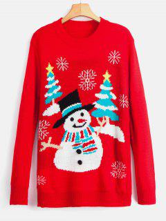 Snowman Snowflake Christmas Trees Sweater - Red