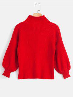 Balloon Sleeve Ribbed Funnel Collar Sweater - Red