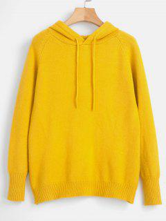 Suéter Con Capucha De Manga Raglán Con Cordón - Amarillo
