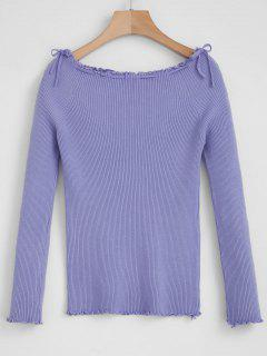 Off The Shoulder Ribbed Sweater - Purple Sage Bush