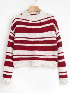 Mock Neck Two Tone Striped Sweater - Multi