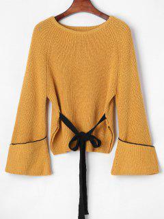 Manschettenärmel Side Slit Sweater - Orange Gold S