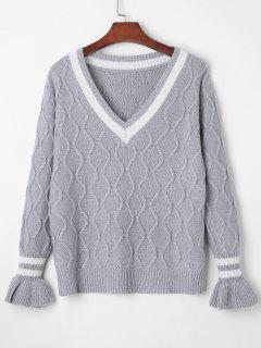 Plunge Bell Sleeve Strukturierter Pullover - Grau M