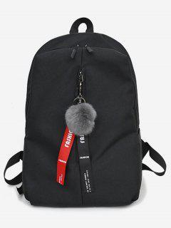 Faux Fur Ball Letter Print School Backpack - Black