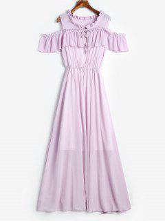Vestido Maxi Con Hombros Descubiertos Y Volantes - Púrpura De Wisteria M