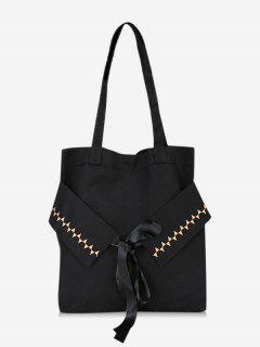 Bowknot Canvas Shoulder Bag - Black