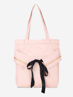 Bowknot Canvas Shoulder Bag - Light Pink
