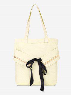 Bowknot Canvas Shoulder Bag - Warm White