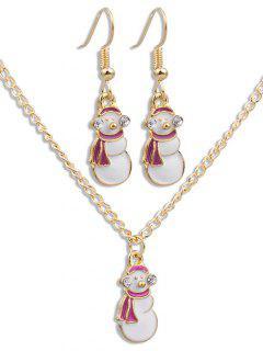 Christmas Snowman Alloy Jewelry Set - Gold
