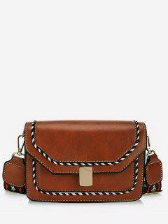 Striped Print PU Leather Crossbody Bag - Light Brown
