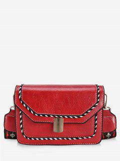 Striped Print PU Leather Crossbody Bag - Lava Red