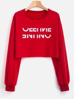 Drop Shoulder Graphic Crop Sweatshirt - Red L
