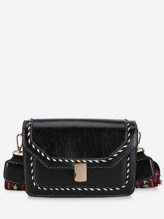 Striped Print PU Leather Crossbody Bag - Black