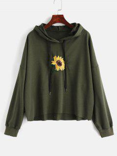 Sequin Flower Embroidered Hoodie - Army Green M