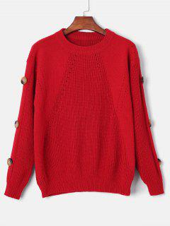 Drop Shoulder Buttoned Sweater - Red M