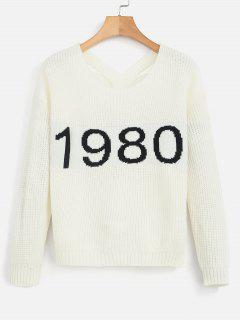 Number Graphic Chunky Knit Sweater - Warm White