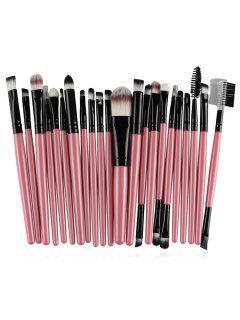 Set De Pinceau De Maquillage Ultra Doux De 22 Pcs De Fibres Synthétiques - Rose Kaki