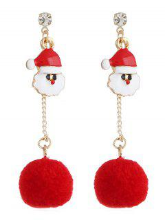 Santa Claus Fuzzy Ball Drop Earrings - Gold