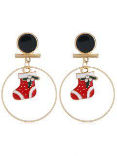 Stylish Christmas Boots Rhinestone Round Earrings - Gold