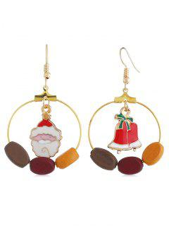 Cute Santa Claus Bell Round Hook Earrings - Multi