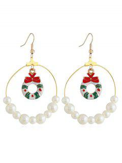 Christmas Bowknot Faux Pearl Round Drop Earrings - Gold