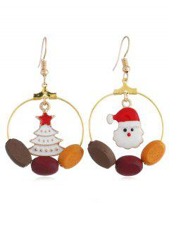 Christmas Snowman Tree Round Hook Earrings - Gold