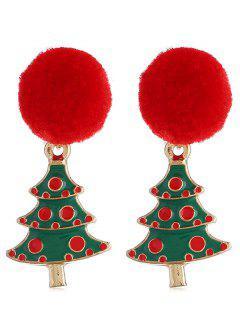 Christmas Tree Pom Pom Party Earrings - Multi