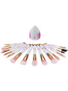 16 Pcs Marble Handles Synthetic Fiber Hair Cosmetic Brush Set And Makeup Sponge Puff - Pink Regular
