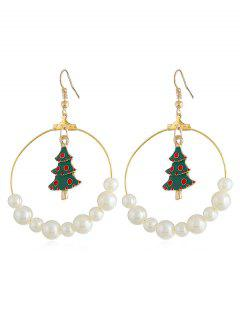 Christmas Tree Faux Pearl Party Jewelry Suit - Gold