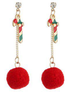 Colored Cane Fuzzy Ball Christmas Earrings - Multi