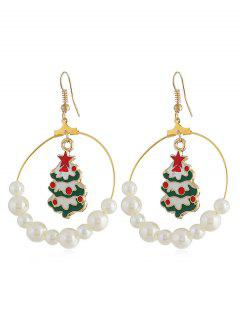 Christmas Tree Faux Pearl Party Drop Earrings - Gold
