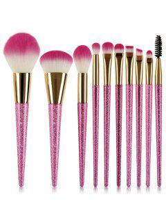10 Pcs Cosmetic Synthetic Fiber Hair Travel Makeup Brush Set - Pink Regular