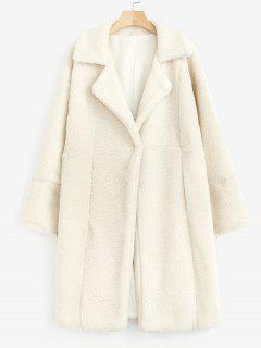 Fluffy Faux Shearling Long Winter Coat - Beige Xl