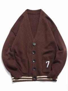 Button Fly Solid Color Knitted Cardigan - Coffee L