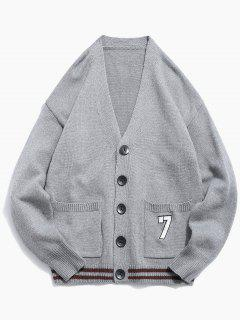 Button Fly Solid Color Knitted Cardigan - Gray Cloud Xl