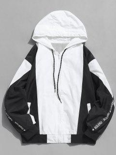 Zip Fly Cat Printed Hooded Jacket - Black L