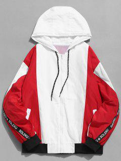 Zip Fly Cat Printed Hooded Jacket - Red L
