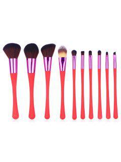 10 Pcs Plastic Handles Synthetic Fiber Hair Makeup Brush Set - Rosso Red Regular