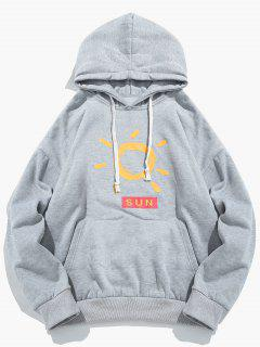Kangaroo Pocket Cartoon Sun Printed Fleece Hoodie - Light Gray L
