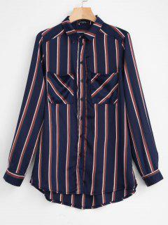 ZAFUL Chest Pockets Striped Shirt - Deep Blue M