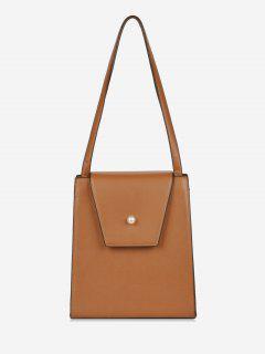 Faux Pearl Minimalist Shoulder Bag - Brown