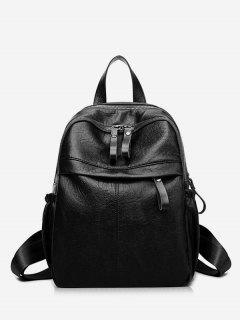Large Capacity PU Leather School Backpack - Black