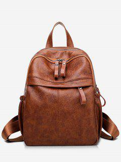 Large Capacity PU Leather School Backpack - Brown