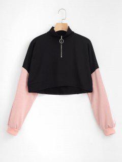 Two Tone Crop Half Zip Sweatshirt - Black M