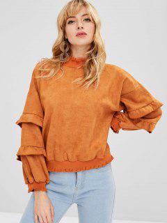 Ruffled Suede Sweatshirt - Sandy Brown